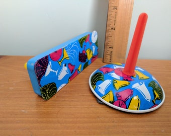 Two Metal Colorful Noise Makers, Vintage Tin Toy, Noisy Clapper, Party, Drinks and Bells