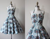 50s Dress - Vintage 1950s Dress - Colorful Faille Circle Skirt Party Dress w Halter and Sequins S - With Much Fanfare Dress