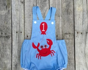 Under The Sea Crab  First Birthday Sunsuit.