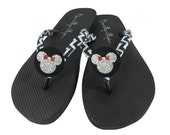 Chevron Minnie in Red and Silver Glittery Button on Black Flip Flops