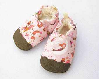 Eco-Canvas Vegan Mermaids in Pink / non-slip soft sole shoes / made to order / babies toddlers preschool