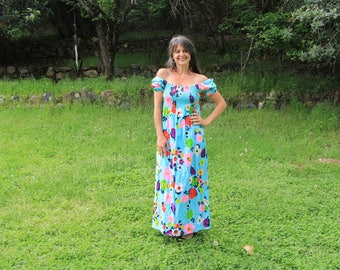 SODA POP - Electric Floral 1960s 70s Maxi Dress Turquoise Hot Pink Lime Green Joseph Magnin Alice of California ILGWU Hippie Flower Power M