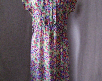Vintage Joy Gordon sheer georgette spring/summer dress. Floral polyester.