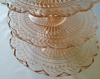Vintage Set of Three Pink Glass Cake Stands