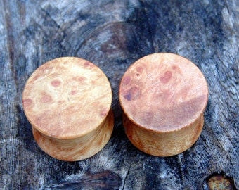 Beautiful 14mm Maple burl wood ear plugs, Hand crafted 9/16ths organic set of gauges