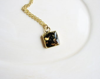 Small Mica Necklace, Gold and Black Necklace, Minimalist Necklace, Geology Necklace, Stone Necklace, Resin Jewelry