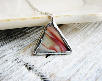 Marbled Glass Necklace, Stained Glass Necklace, Soldered Glass Necklace, Minimalist Jewelry, Geometric Necklace