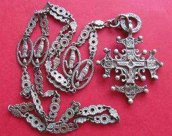 Antique Italian Florentine Cross 800 Silver Religious Necklace Figural Chain  SS265