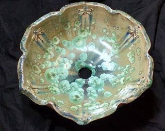 "READY TO SHIP Handmade Petal Shaped Rim Dragonfly Stamped Green Tan Brown Crystalline Glazed Vessel Sink 15"" Diameter"