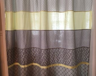 Yellow and Gray Extra Large Shower Curtain with Clip Rings Ships FREE to lower 48