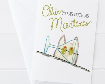 Olive You Martinis Card - Valentine's Day - Love Greeting Card - Cat watercolor art with hand-lettering
