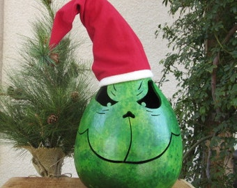 Christmas Gourd Large Grinch Winter Holiday Primitive Decoration