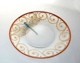Dragonfly Platter Hand Painted Plate Southwestern Dragonfly Serving Platter Personalized Gifting