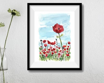 poppies field art print, Poppies field 4, watercolor print, colorful landscape, mothers day, red poppies print, landscape painting