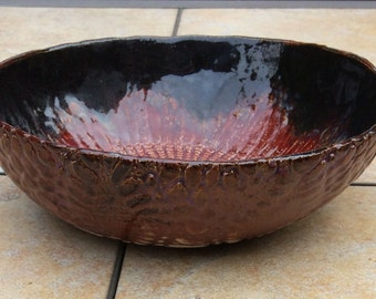 Stoneware Lace Art Bowl Pasta Bowl 10 inch Ceramic Two Sided Doily Red Salad Bowl