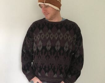 CLEARANCE 80s Grandpa sweater, Unisex, Bulky Sweater, Chunky Knit, Patterned Sweater, Pullover, Mens, Womens, Oversized, Ugly Sweater, M L X