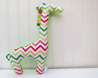 Chevron Plush Giraffe Stuffed Animal Zig Zag Green Red Yellow Ready to Ship