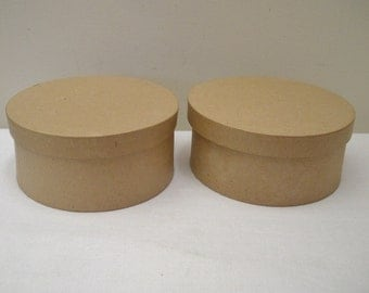 Unfinished Pair of Round Paper Mache Boxes