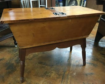 Antique Split Lid Dough Box Turned Legs Shipping is not free