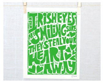 Wall Art, Irish, Irish Sign, Irish Eyes, Irish Laughter, Spring Trends, Kitchen Art Print, Mother's Day,  St Patrick's Day