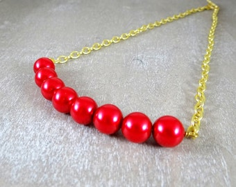 Cherry red glass pearl statement necklace