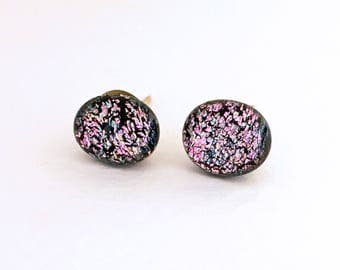 Vintage pink dichroic glass pebbles sterling silver earrings