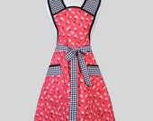 Womens Vintage Style Apron / Retro Red Feedsack Floral Print Trimmed in Black Gingham Full Coverage Plus Size Womans Kitchen Apron