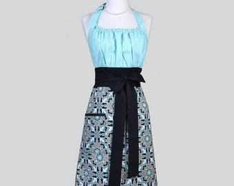 SALE Cute Kitsch Womens Apron / Joel Dewberry Horse Blanket Aqua and Black Retro Modern Chef Kitchen Apron with Pockets