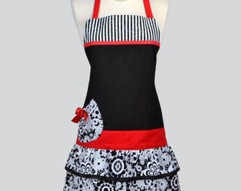 SALE Womens Chef Apron / Black and White Parisian Paisley with Stripes Womans Flirty Vintage Style Kitchen Cooking Apron with Pockets