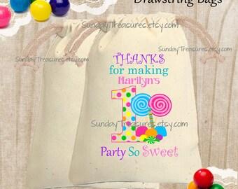 5 PAK Candyland Cotton Drawstring Favor Gift Bag / 4x6 / Sweet 16 / Pick Age  1 2 3 4 5 6 7 8 9 10 15 16/ 3 Day Ship