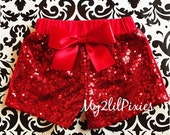 SALE Red sequin shorts , Baby Girls red Sparkle Sequin SHORTS-  girls birthday outfit- girls sequin shorts- toddler shorts- toddler sequin s