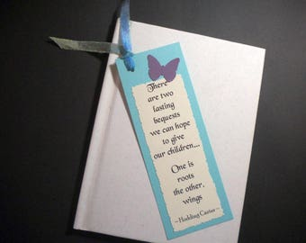 ROOTS & WINGS - Bookmark with inspirational quote