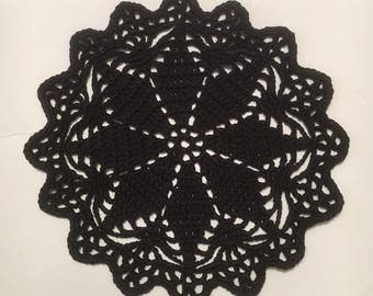 Black Crochet Doily Black lace Doily Crochet Lace Doily Round Doily Small Crochet Doily Mother's Day D-76(5)