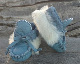 """Baby Moccasins By Desi, Beaded, Sheepskin fur, Blue Leather 5"""" Long, Girl, Boy, Tribal, Aztec, Ankle Boots, Winter Wear, Toddler Holiday"""