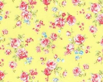 Antique Flower in Pastel Roses on Yellow Cotton Fabric Lecien 31421-50