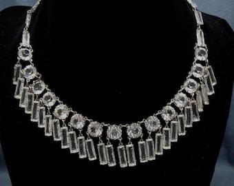 Vintage Deco Sterling Open Back Rhinestone Necklace Dangling Crystal Fringe