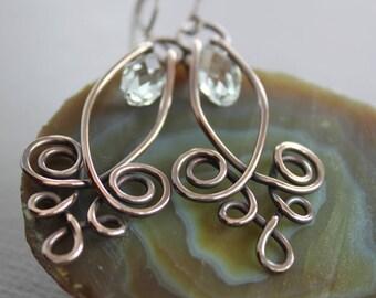 Sparkly Swarovski chandelier earrings in Celtic style - Copper earrings - Swarovski earrings - Boho earrings - Statement earrings - ER072