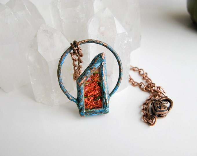 Orange Lava Fused Glass Pendant Electroformed Copper Necklace Modern Jewelry Large Glass Pendant Statement necklace OOAK