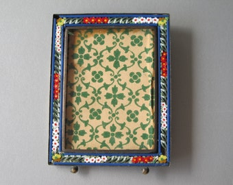 Miniature Vintage Micro Mosaic Picture Frame Italy c.1940's Tiny Glass Floral Murrine
