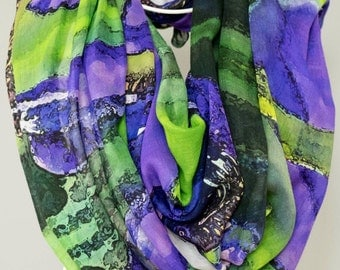 Scarf, Shawl, Bridal Party Wedding Wrap. Abstract Floral Photography.  Purple Iris Design.