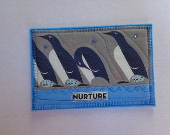 Quilted Fabric Postcard - Art Card - Charley Harper Penguins