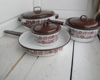 Vintage Brown Flower Enamel Pots Pans Set of 7