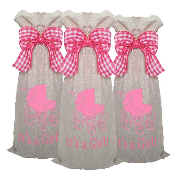 Baby Shower Party Favors, wine bags, 3 pack party favor wine sacks, monogrammed personalized, baby shower hostess gifts