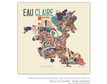 Eau Claire, Wisconsin Art Map Print (Chippewa and Eau Claire Counties) by James Steeno