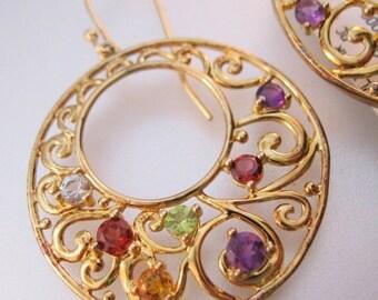 XMAS SALE Multi Gemstone Sterling Vermeil Dangle Hoop Earrings Old New Stock with Original Tag Vintage Jewelry Jewellery