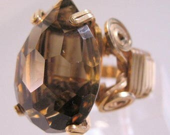 Vintage Smoky Quartz Cushion Cut Pearl Shaped Ring Gold Filled Wire Wrapped Size 7 - 22.5mm x 16mm