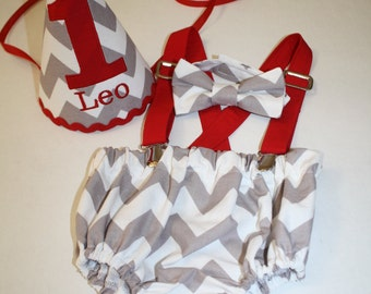 baby boy first birthday outfit, cake smash outfit gray, white, red, 1st birthday hat suspenders, diaper cover bow tie birthday hat