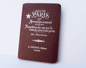 Vintage Paris Map Book, Plan de Paris par Arrondissement, Paris Guidebook, Paris Street Maps, French Guidebook, Mixed Media Supply
