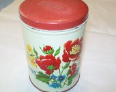 Vintage Red Floral Tin, Canister, Kitchen, 1950s, 1960s, Parmeco