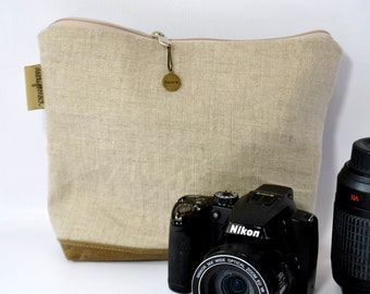 Linen camera bag, Foam padded & trimmed with waxed canvas  Rustic pouch minimalist  by Darby Mack, made in the USA